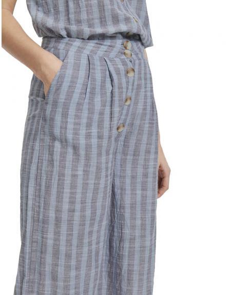 Pantalón ancho tela IHTULLE PA ICHI rayas azul - Imagen 1