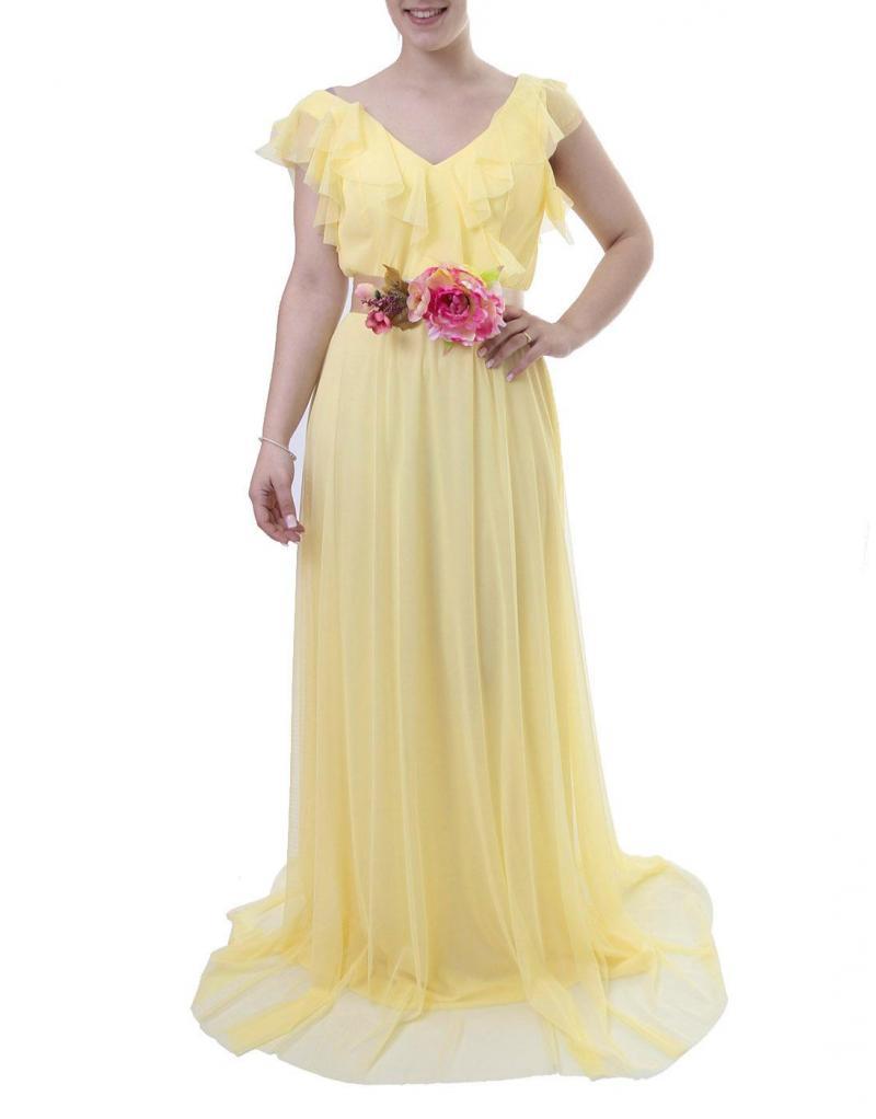 Vestido largo herysa amarillo cinto flor - Imagen 1