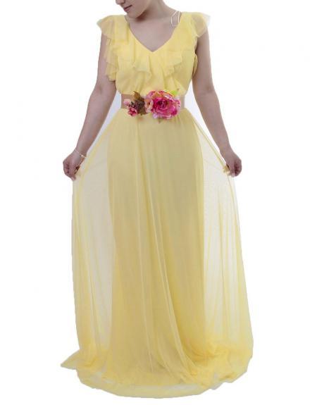 Vestido largo herysa amarillo cinto flor - Imagen 2