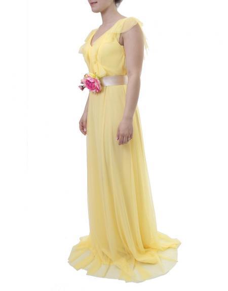 Vestido largo herysa amarillo cinto flor - Imagen 3