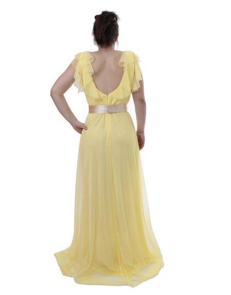 Vestido largo herysa amarillo cinto flor - Imagen 4