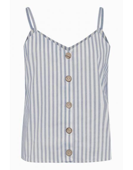 Top blanco rayas Bydena con botones - Imagen 1