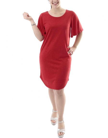 Vestido rojo Ichi de punto - Imagen 1