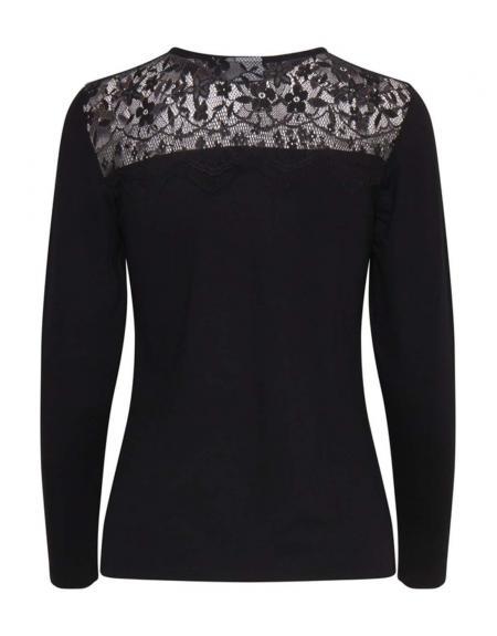 Camiseta BYPinovo negro encaje m.l - Imagen 1