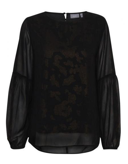 Blusa BYgosia negra leo brillos manga ancha - Imagen 1