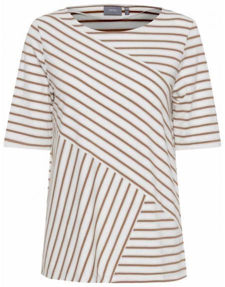 Camiseta blanco listas beige Byoung  Byarista para mujer - Imagen 1