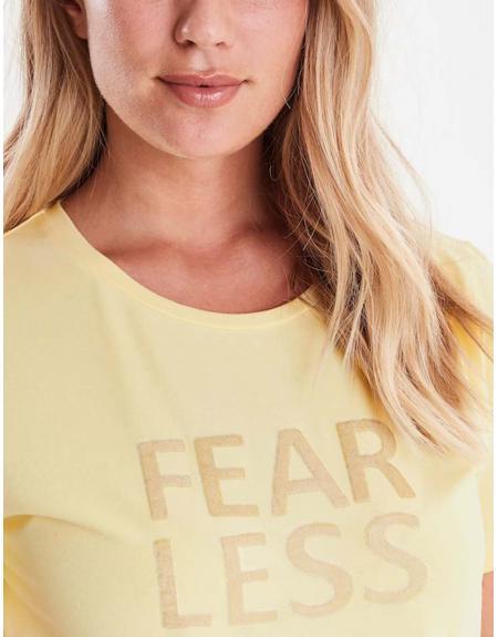 Camiseta manga corta amarillo Byoung Bypandina flock para mujer - Imagen 4