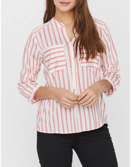 Camisa blanca listas Vero Moda VMErika 3/4 para mujer - Imagen 1