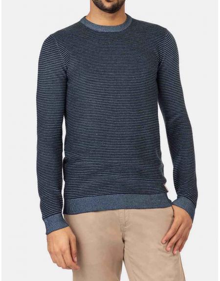 Jersey Tiffosi azul algodón tejido rayas Kansas para hombre - Imagen 1