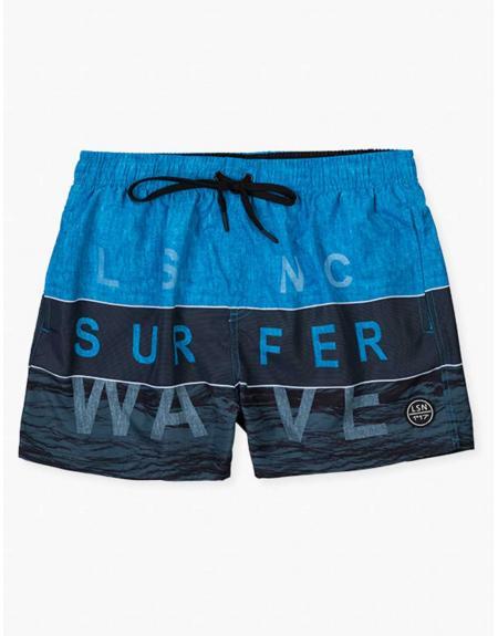 Bañador azul combinado surfer Losan para hombre - Imagen 1