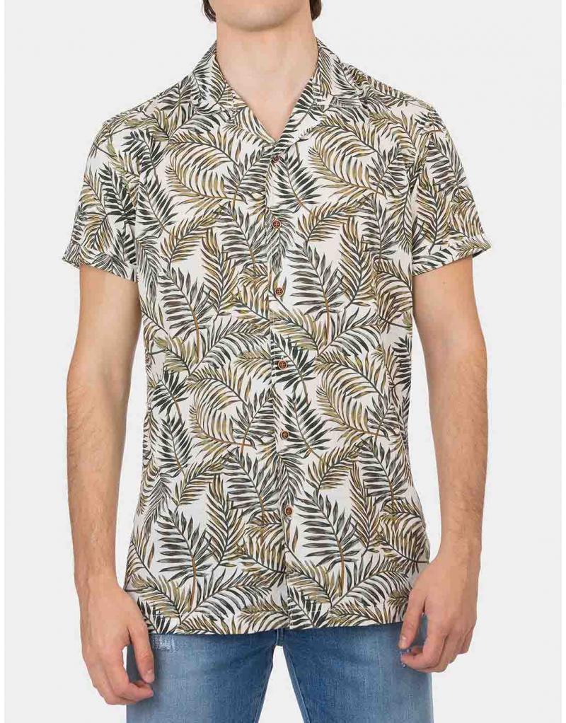 Camisa manga corta estampado tropical Tiffosi Lemars para hombre - Imagen 1