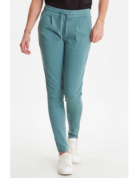 Pantalón de punto con gomas verde Ichi Ihkate para mujer - Imagen 1