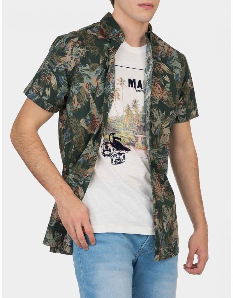 Camisa manga corta verde estampada Tiffosi Linz para hombre - Imagen 1