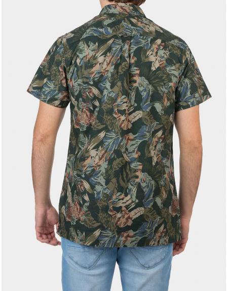 Camisa manga corta verde estampada Tiffosi Linz para hombre - Imagen 2