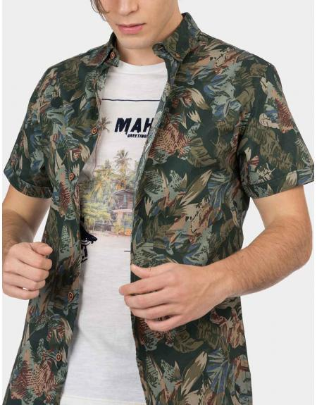 Camisa manga corta verde estampada Tiffosi Linz para hombre - Imagen 3