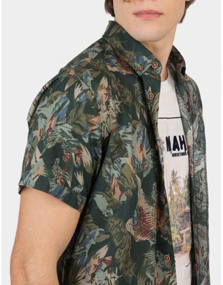 Camisa manga corta verde estampada Tiffosi Linz para hombre - Imagen 4