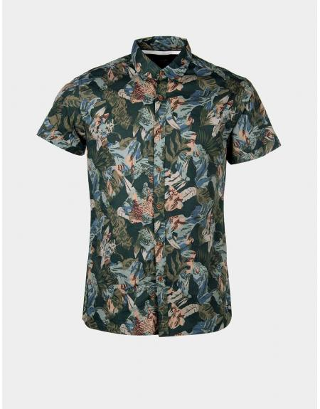 Camisa manga corta verde estampada Tiffosi Linz para hombre - Imagen 5