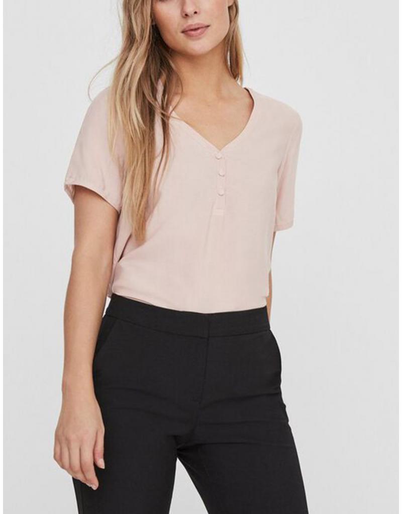 Camiseta manga corta pico VERO MODA VMNina botones para mujer - Imagen 1