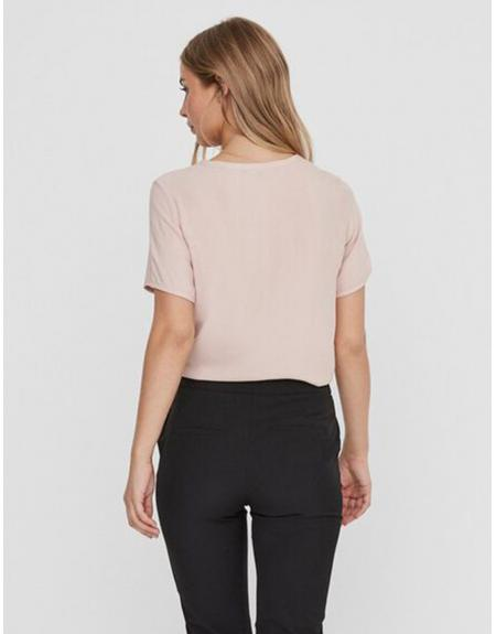 Camiseta manga corta pico VERO MODA VMNina botones para mujer - Imagen 3