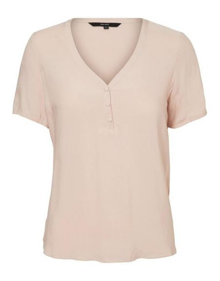 Camiseta manga corta pico VERO MODA VMNina botones para mujer - Imagen 4