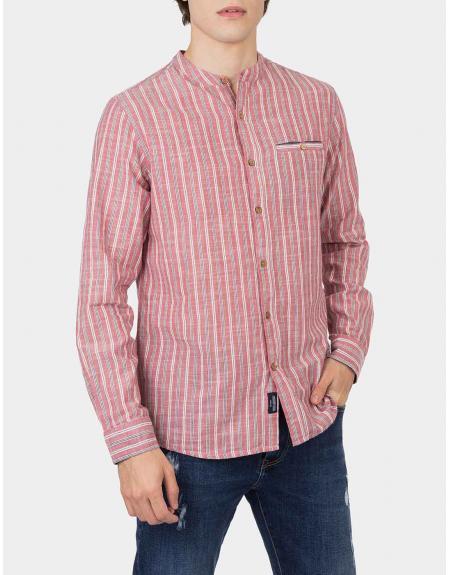 Camisa rojo listas manga larga cuello mao Tiffosi lakewood para hombre - Imagen 1