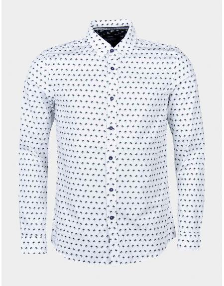 Camisa blanco palmeras Tiffosi Poland para hombre - Imagen 1