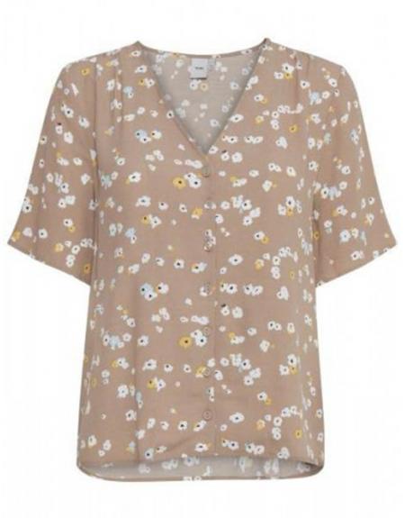 Camisa tostado floral cuello pico Ichi para mujer - Imagen 1