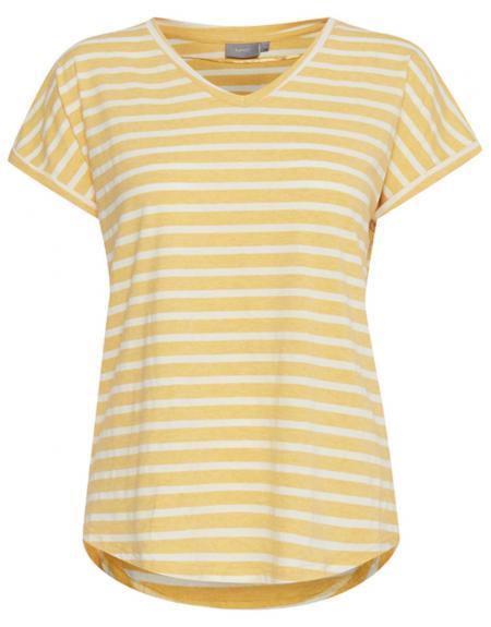 Camiseta amarilla listas manga corta Byoung Bypamila para mujer - Imagen 1