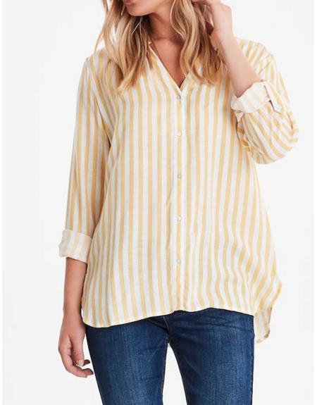 Camisa listas amarillo Byoung Byfabianne para mujer - Imagen 1
