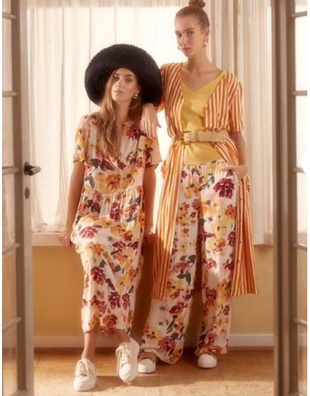 Vestido floral beige manga corta Ichi Ihbrunsa para mujer - Imagen 2