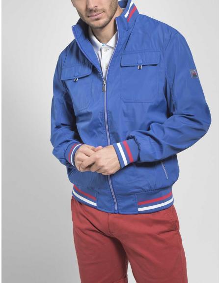 Cazadora azul casual CLK cremallera cuatro bolsillos para hombre - Imagen 1