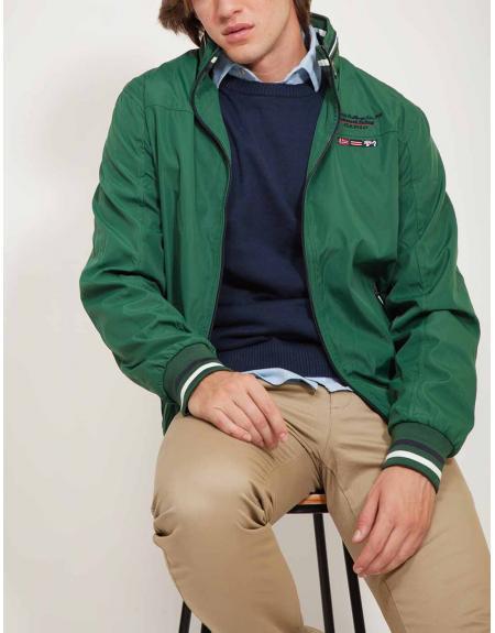 Cazadora verde CLK cremallera casual para hombre - Imagen 1