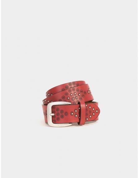 Cinturón granate tachuelas Tiffosi Orani para mujer - Imagen 1