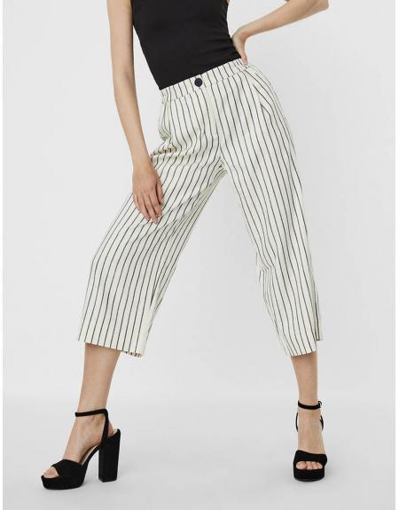 Pantalón VERO MODA tela listas ancho para mujer - Imagen 1