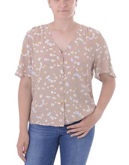 Camisa tostado floral cuello pico Ichi para mujer - Imagen 2