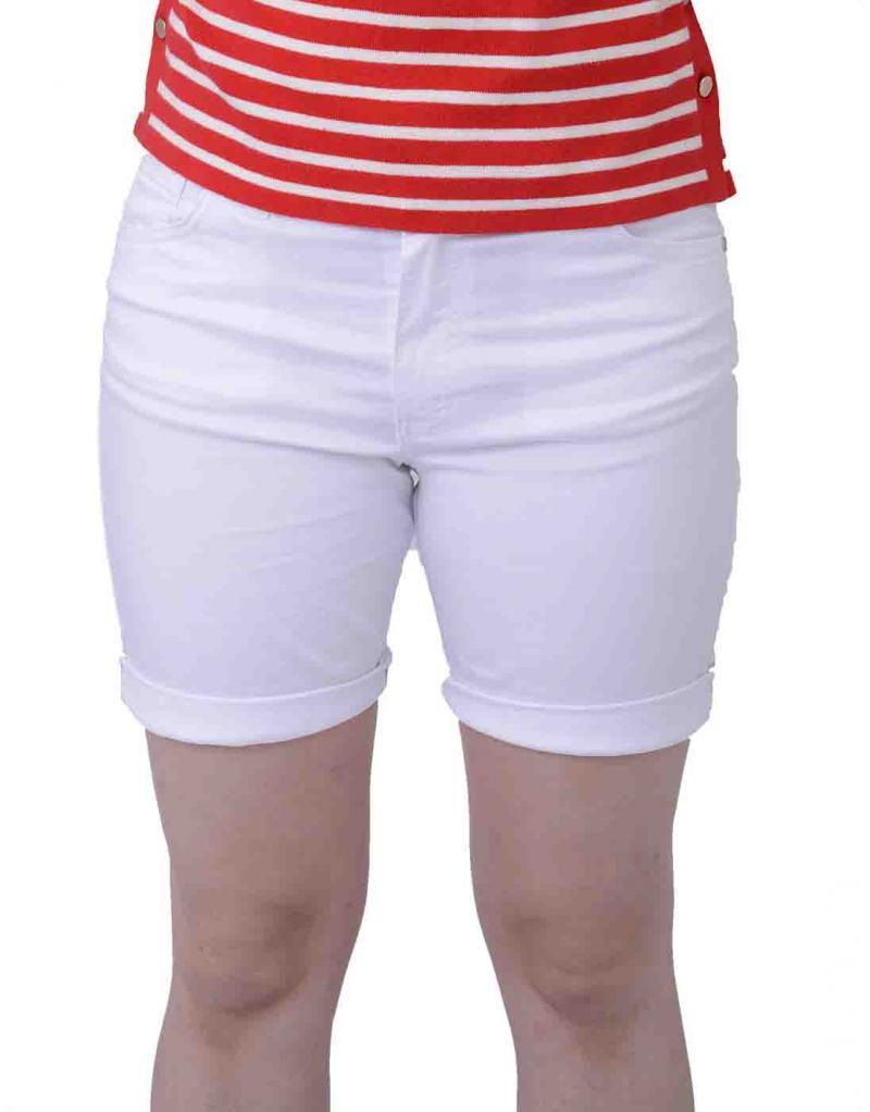 Pantalón corto blanco CRZ elástico para mujer - Imagen 1