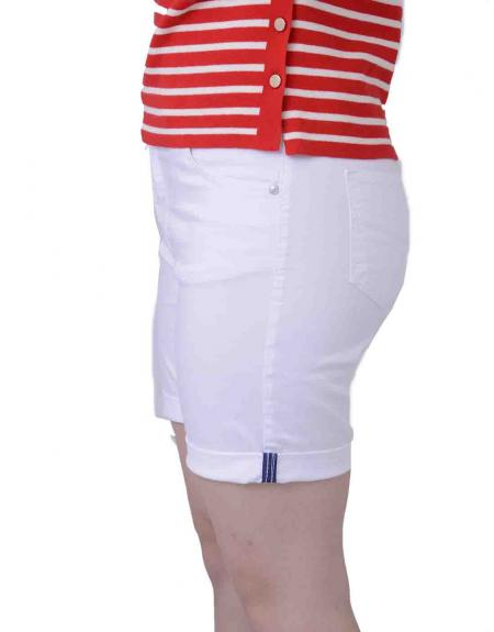 Pantalón corto blanco CRZ elástico para mujer - Imagen 2