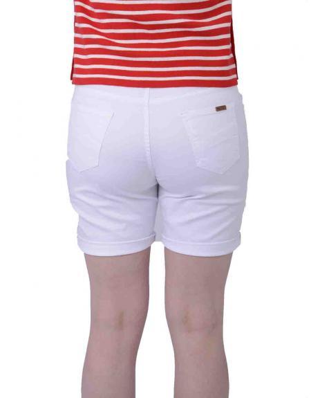 Pantalón corto blanco CRZ elástico para mujer - Imagen 3
