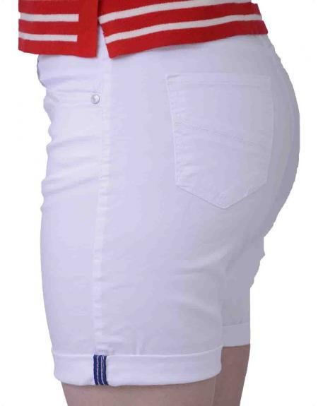 Pantalón corto blanco CRZ elástico para mujer - Imagen 4