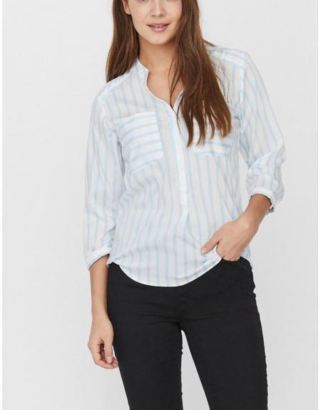 Camisa blanca listas Vero Moda VMErika 3/4 para mujer - Imagen 5