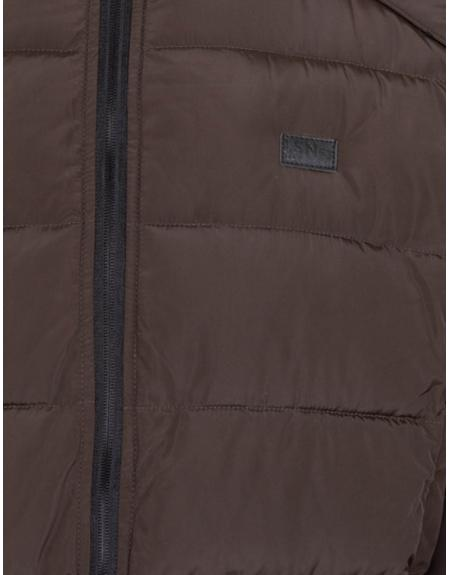Cazadora Losan acolchada marrón cremallera para hombre - Imagen 4