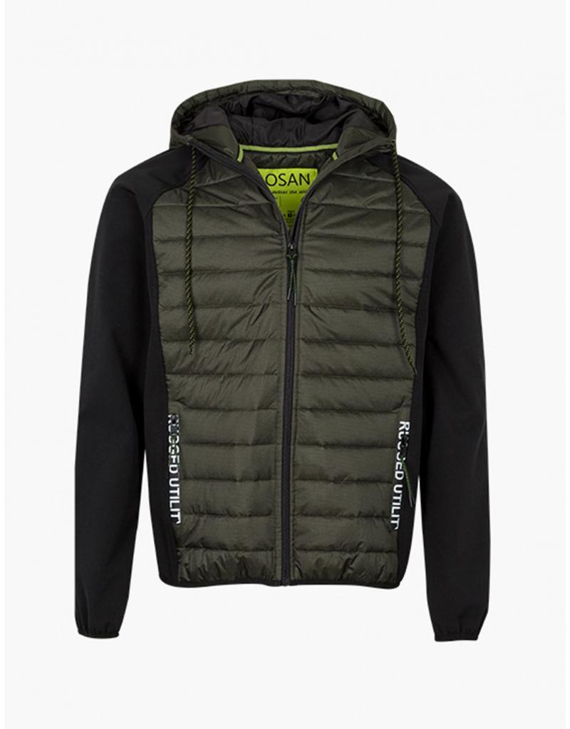 Cazadora verde Losan capucha bolsillos letras para hombre - Imagen 1