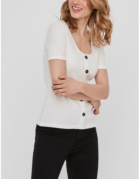 Camiseta Vero Moda blanca botones VMHelsinki para mujer - Imagen 1