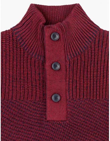 Jersey granate botones tricotosa Losan para hombre - Imagen 2