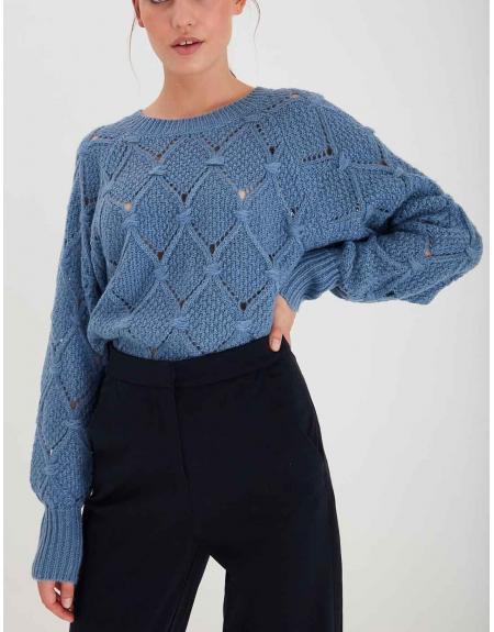 Jersey Ichi azul rombo calados para mujer - Imagen 1