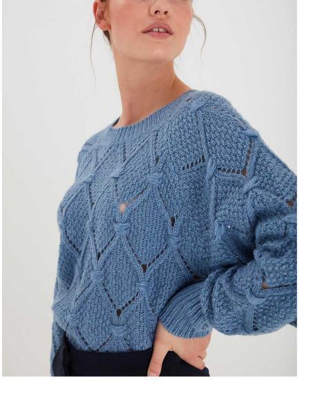 Jersey Ichi azul rombo calados para mujer - Imagen 2
