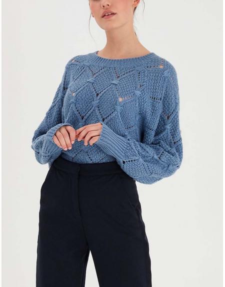 Jersey Ichi azul rombo calados para mujer - Imagen 3