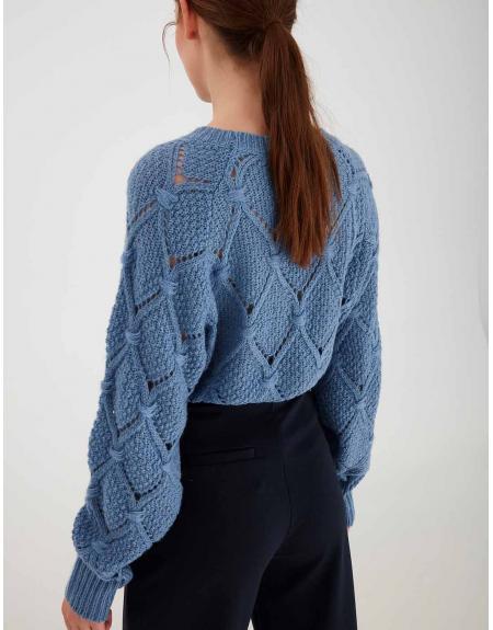 Jersey Ichi azul rombo calados para mujer - Imagen 4