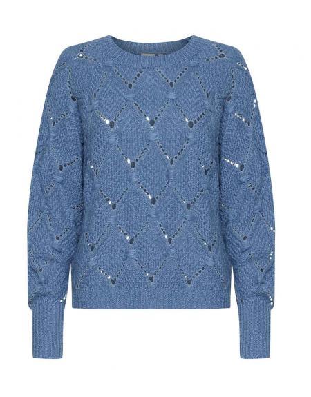 Jersey Ichi azul rombo calados para mujer - Imagen 5