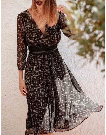 Vestido topitos VERDE cinto La Musa para mujer - Imagen 1